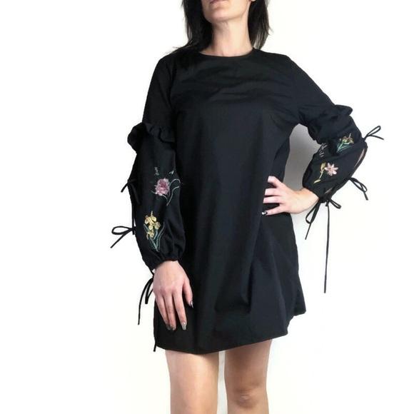 Rebellion Dresses & Skirts - Rebellion black floral long sleeved dress size L